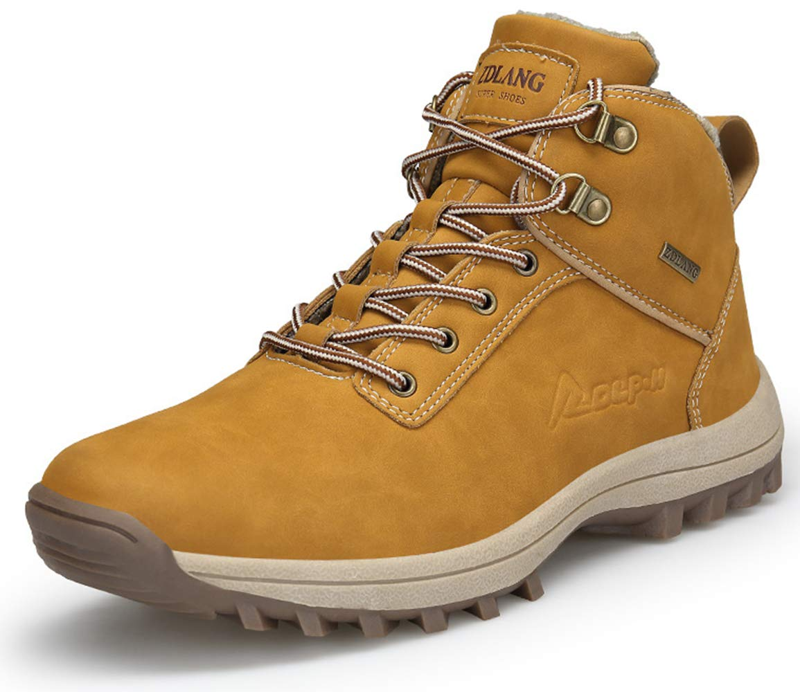TSIODFO Mens Hiking Boots Winter Men Trail Hiking Shoes Waterproof PU Leather Breathable Comfort Outdoor Mens Ankle Boots Light Brown Size 8 (572-light brown-41) by TSIODFO