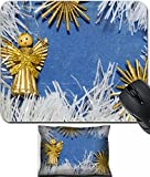 vintage angel figurines - MSD Mouse Wrist Rest and Small Mousepad Set, 2pc Wrist Support design 30456012 vintage toy angel figurine on old cardboard with straw snowflakes