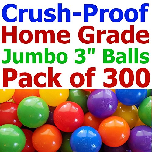 My Balls Pack of 300 Jumbo 3 Standard Home Grade Ball Pit Balls 5 Bright Colors; Crush-Proof; Air-Filled; Phthalate Free; BPA Free; Non-Toxic; Non-Recycled Plastic (Standard Grade, 300)