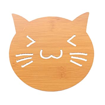 Amazon.com | BESTONZON 2 Pcs Cute Cat Cup Coaster Cartoon Hollow ...