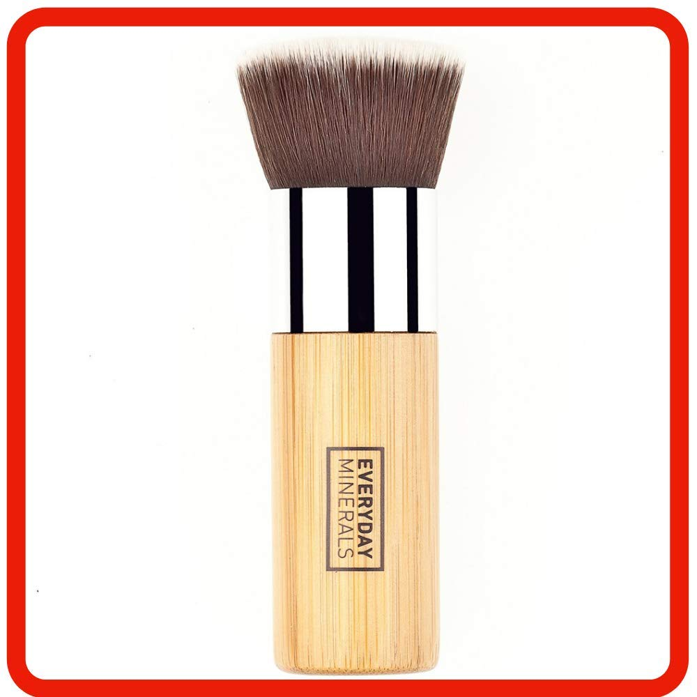 Everyday Minerals | Extraordinary Flat Top Bamboo Brush | Ultimate Makeup Brush for Powder, Liquid, Cream Cosmetics | Blending, Buffing, Stippling Professional Grade Bamboo Vegan Brush