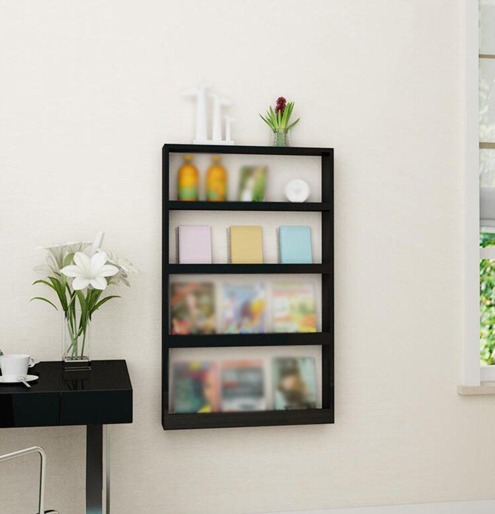 Black wall shelf / children's bookshelf / display rack / wall shelf / wall-mounted simple table magazine shelf / bedroom wall shelf /(68110.5cm) by Wall Shelves