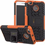 Heartly Xiaomi Redmi 4 Back Cover Kick Stand Rugged Shockproof Tough Hybrid Armor Dual Layer Bumper Case - Mobile Orange