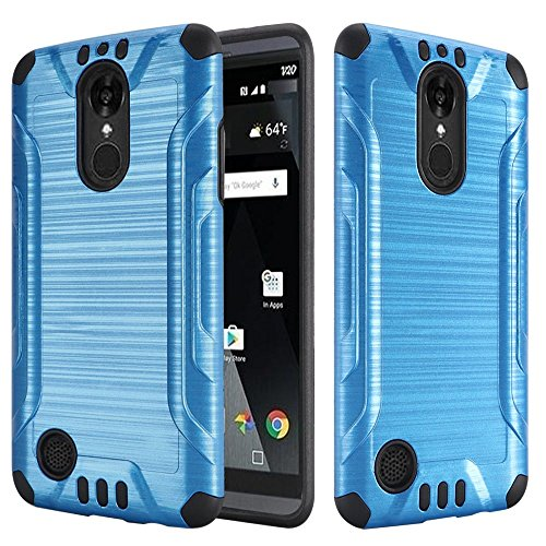 Luckiefind Case Compatible with LG Aristo 2 X210 / LG Tribute Dynasty/LG Rebel 3 LTE/LG Fortune/Phoenix 3, Slim Brush Texture Hybrid Defender Armor Case Cover (Brush Blue) ()