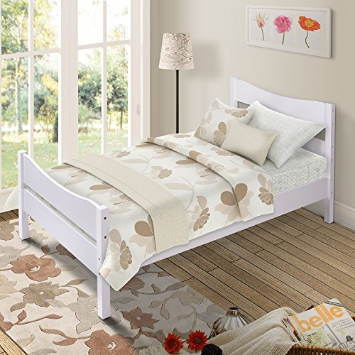 (Merax Wood Platform Bed Frame Mattress Foundation with Headboard and Wooden Slat Support,Twin (White))