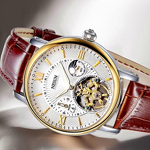Complications Men's Business Automatic Mechanical Skeleton Casual Watch with Leather Band (Brown Band-White Gold) by NESUN (Image #4)
