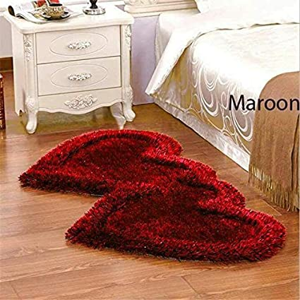 Best Choice Polyester Blend Non-Slip Heart Shape Shaggy Carpet Runner(Maroon)