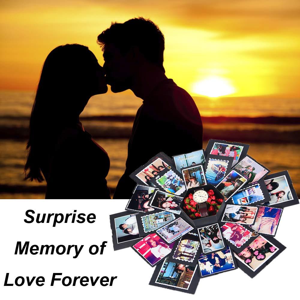 Creative Explosion Box DIY Gift - Scrapbooking for Wedding Engagement Anniversary Graduation Birthday, Upgraded 6-Sides Handmade Photo Album with Love Memory (Black)
