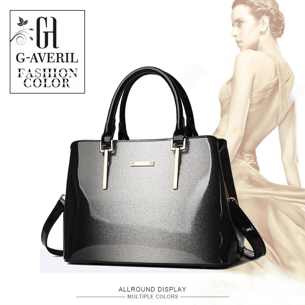 9f56c41f2b85 G-AVERIL Women Bags Ladies Top Handle Bags Patent Leather Stylish Handbags  Shoulder Bags Grey  Amazon.co.uk  Luggage