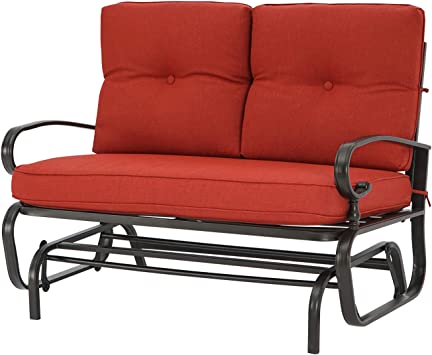 Patiomore Outdoor Loveseat Patio Glider Rocking Bench 2 Seats Wrought Iron Chair Set with Red Cushion