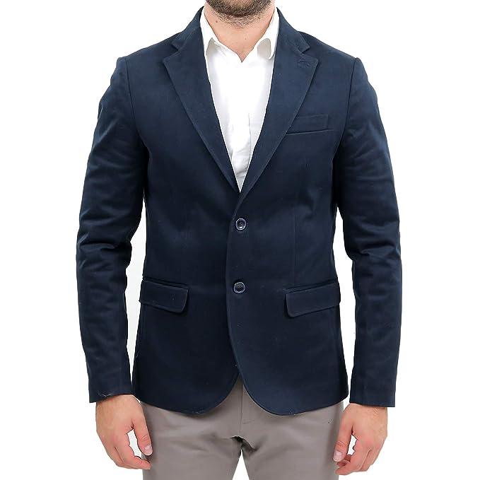 Giacca Uomo Elegante Slim Fit Blu Scuro Invernale Sartoriale Classica Blazer  2 Bottone in Velluto 100% Made in Italy da Cerimonia Abito 48 50 52 54  ... 1e41749b457