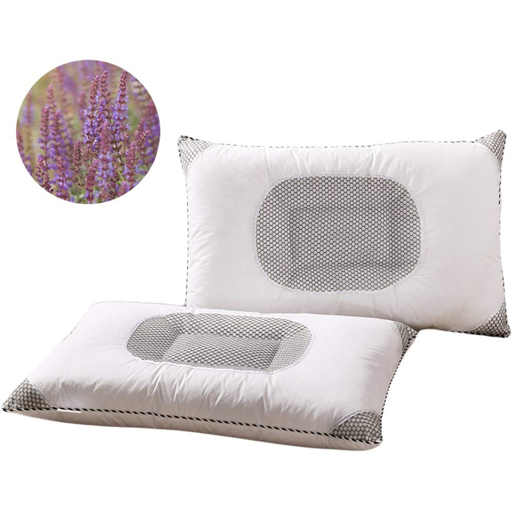 Lavender and Cassia Pillow, Adult Home Care Cervical Pillow, Promote Sleep (45×70cm,1 Pair) (Color : Style 2)