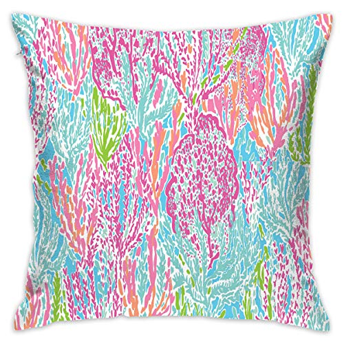 NEHomer Lily Prints Hold Pillow Home Square Cotton Polyester Fleece+ Polyester Cotton Sofa Decorative Pillow Zippered Throw Pillow for Living Room, Cafe,Car Decoration,Library