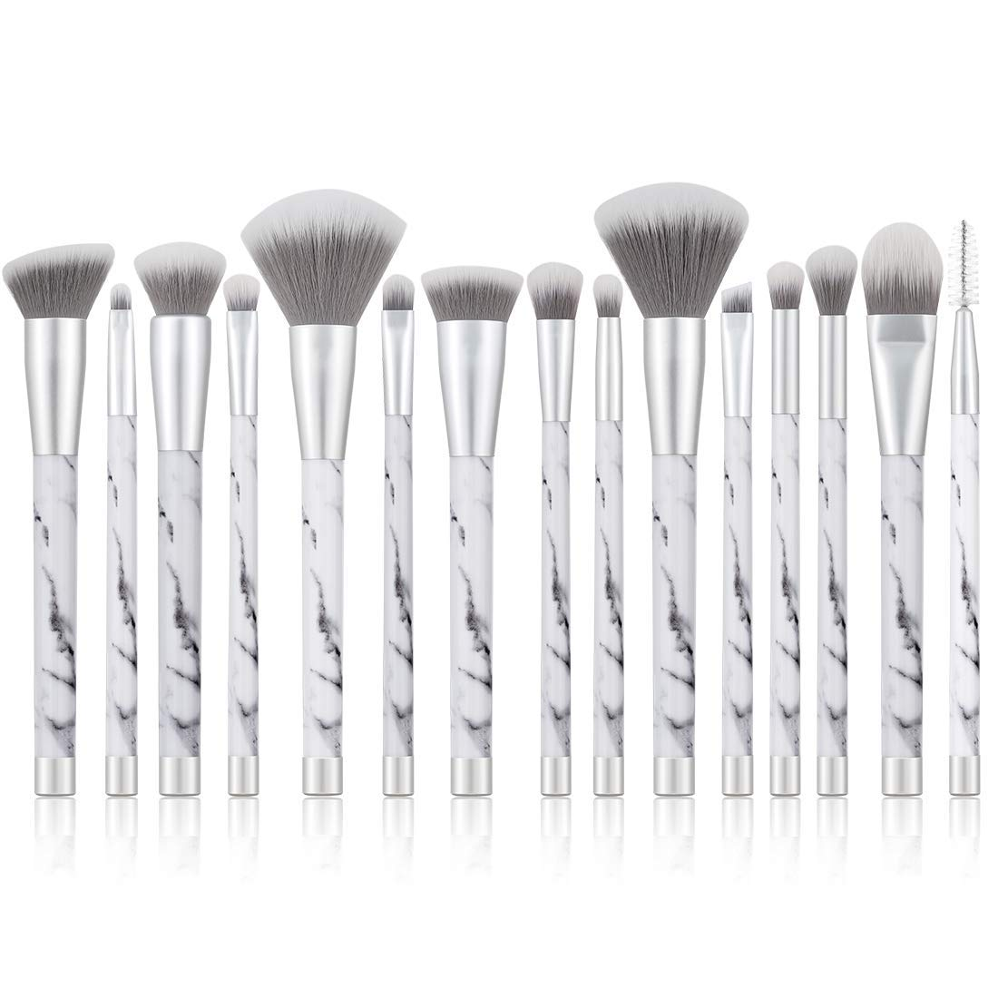 UNIMEIX Marble Makeup Brushes 15 Pieces Makeup Brush Set Premium Face Eyeliner Blush Contour Foundation Cosmetic Brushes for Powder Liquid Cream …
