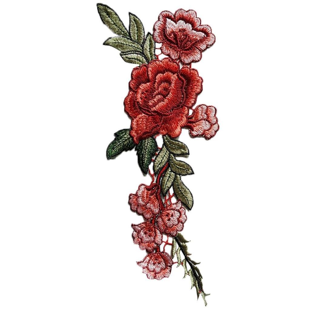 Ularma 2PC DIY Bordado rosas collar de flores coser parches etiqueta de apliques: Amazon.es: Hogar