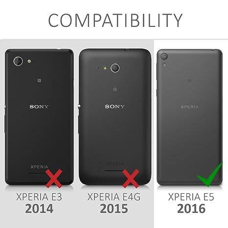 kwmobile Funda para Sony Xperia E5 - Carcasa de [Cuero sintético] con [Ventana] - Case con Solapa [Azul Oscuro]