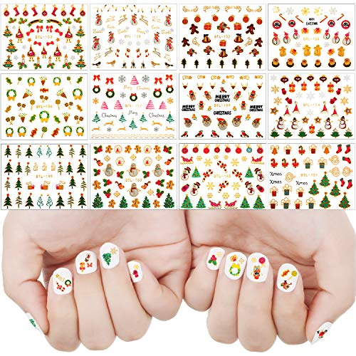 24 Sheets(900 pieces) 3D Christmas Nail Stickers Christmas Self-adhesive Nail Decals Santa Snowman Xmas Tree Stickers for Women Nail DIY Art (Art Kids For Christmas Nail)