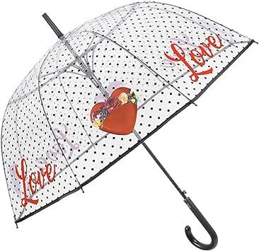 Paraguas Largo Transparente Mujer Cupula con Corazones Rojos y ...