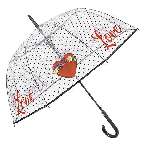 Paraguas Largo Transparente Mujer Cupula con Corazones Rojos y Frases Love - Mango Lunares y Ribete
