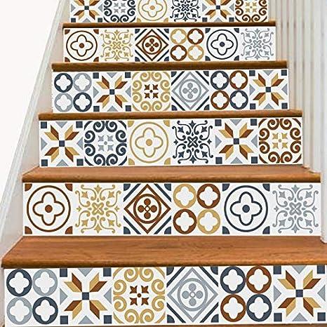 Escalier Autocollants 6 Piè ce Bohê me Vinyle Impermé able Autocollant 3D Amovible DIY Art pour Escaliers 18 * 100cm (Color : 1, Size : 18 * 100cm*6) None