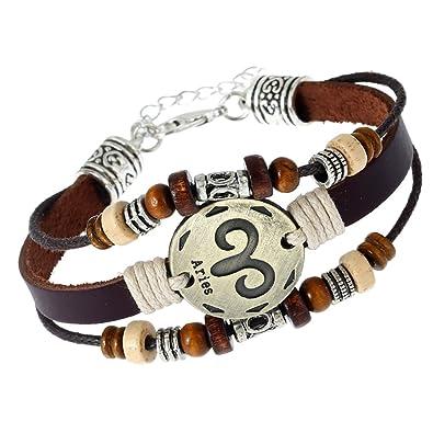 9202edfae28 Soleebee réglable Brun Punk Alliage Rétro PU cuir Bracelet Bijoux pour  hommes et femmes Bracelet Constellation