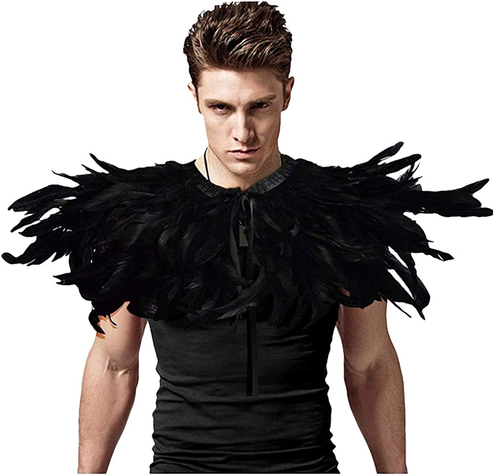 Gothic Black Feather Cape Shawl with Choker Collar for Halloween Costume