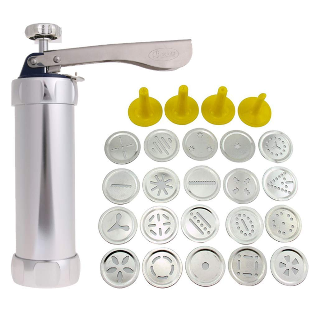 IETONE Spritz Cookie Press Gun Kit - 20 Stainless Steel Disc Shapes Cookies Maker Set and 8 Icing Tips for your Cake Decorating ease -Biscuit Maker Cake Dessert Rings