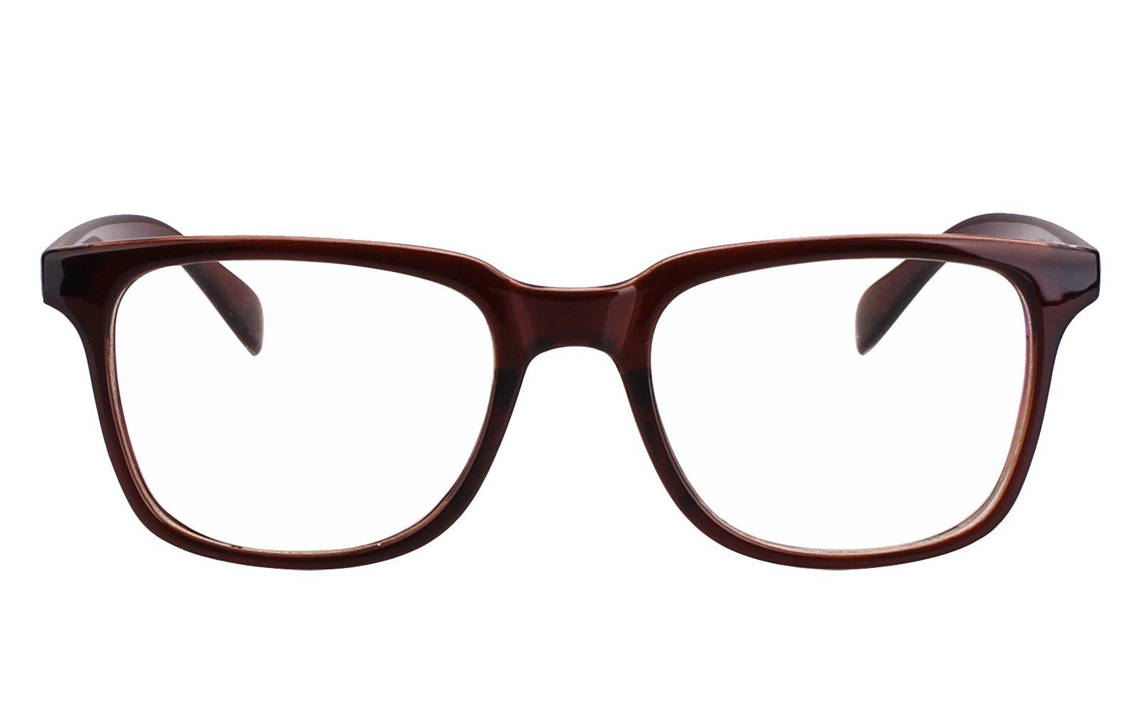Agstum Wayfarer Plain Glasses Frame Eyeglasses Clear Lens (Tea brown, 52)