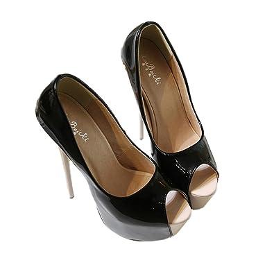 Xianshu Damen mischte Farbe Stilett High Heels Nachtclub Shallow Fish Mund Schuhe Pumps