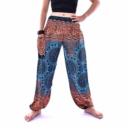Venmo Hombres Mujeres tailandesas Pantalones de harén Festival Hippy Delantal Hippie Alta Cintura Pantalones de Yoga