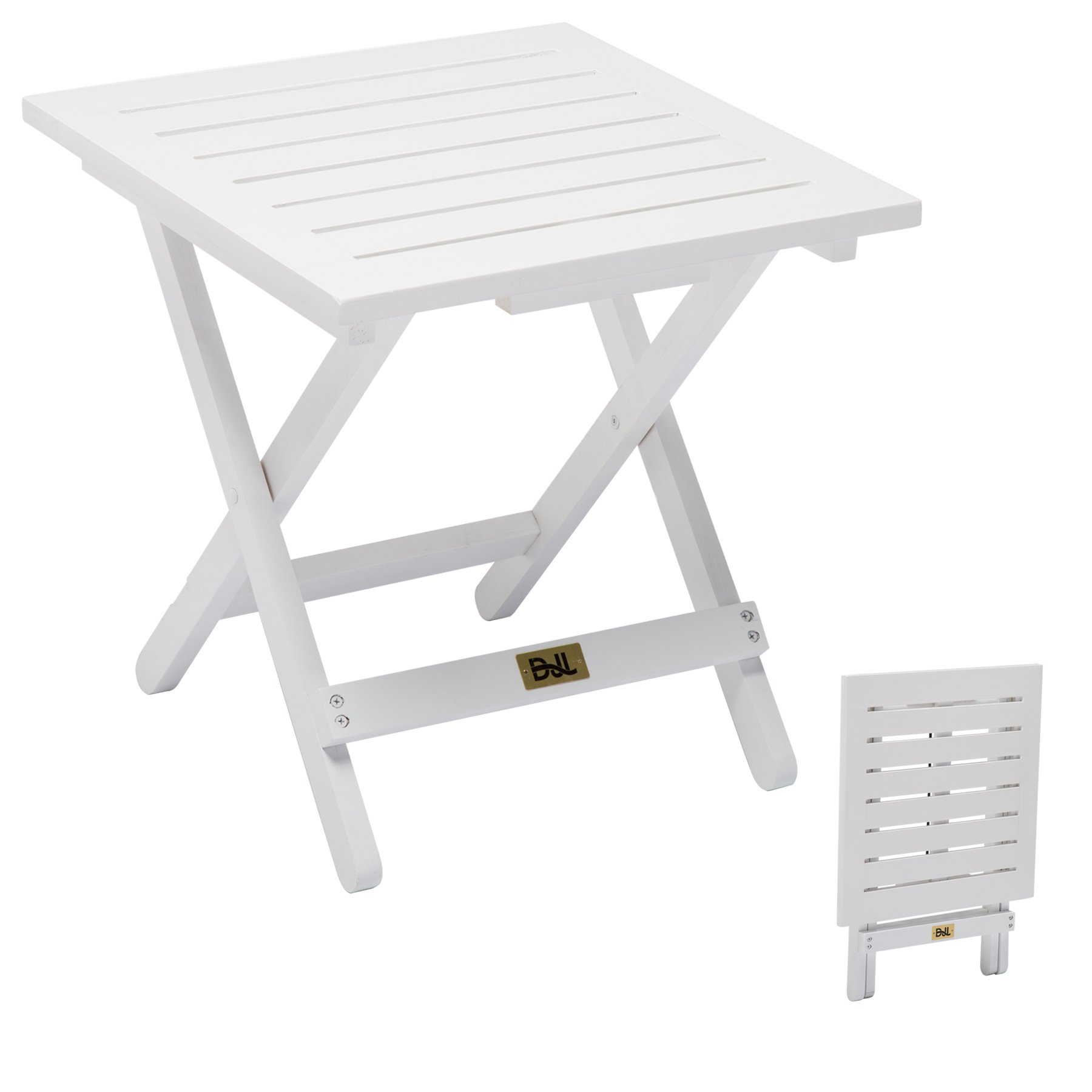 Wood Folding Patio Side Table for Adirondack Chairs Outdoor Small End Table Portable Little Table for Porch, Yard, Garden