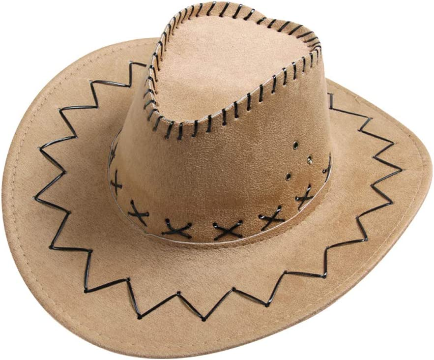 TENDYCOCO Western Cowboy hat Wide Brim hat Sun Visor Cap Outdoor Fishing Hiking hat for Men and Women Camel