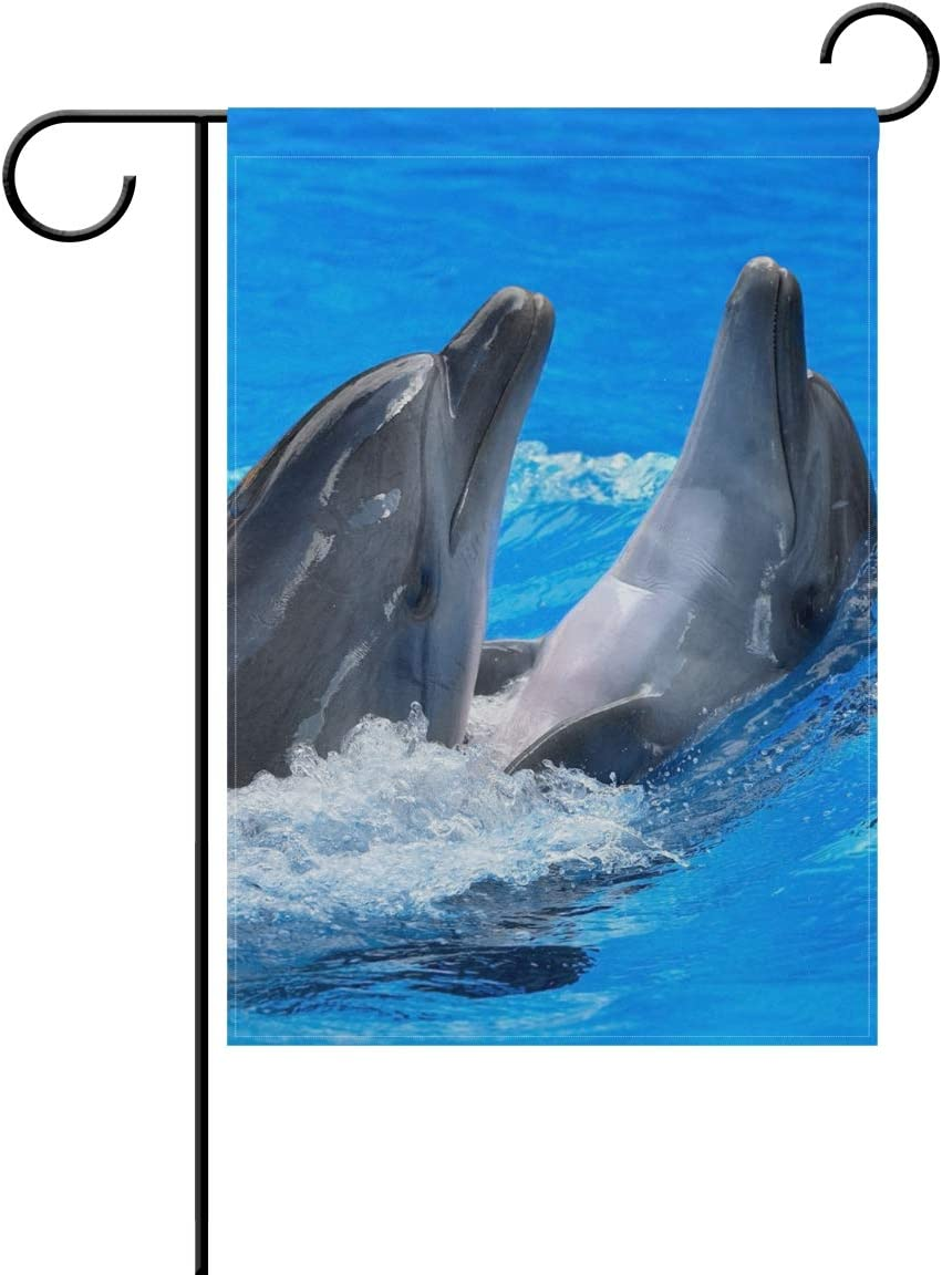 YATELI Garden Flag 12x18 Inch Beautiful Dolphin Jumping Ocean Sea Sunset Polyester Outdoor Home Party