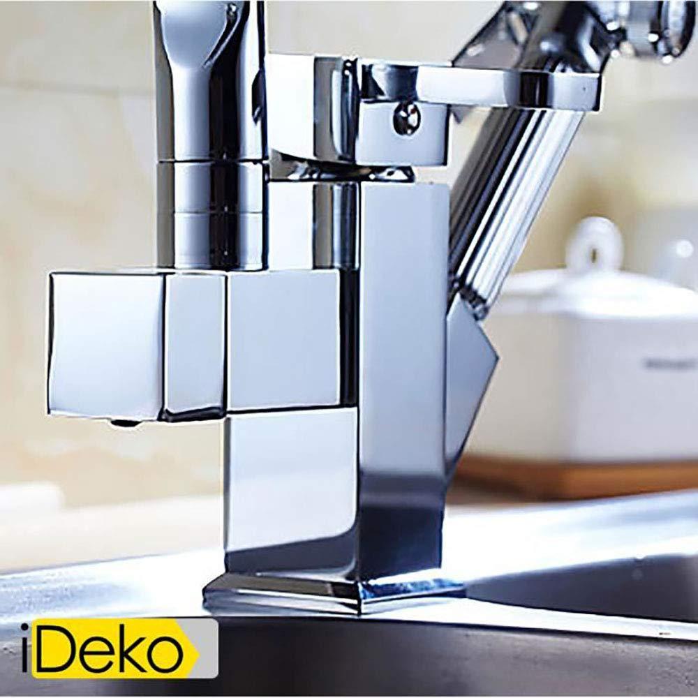 Ideko/® Robinet de Cuisine LED avec douchette Extractible Pivotant /à 360/° Chrome Tendance Moderne Professionnelle /& Flexible x 2