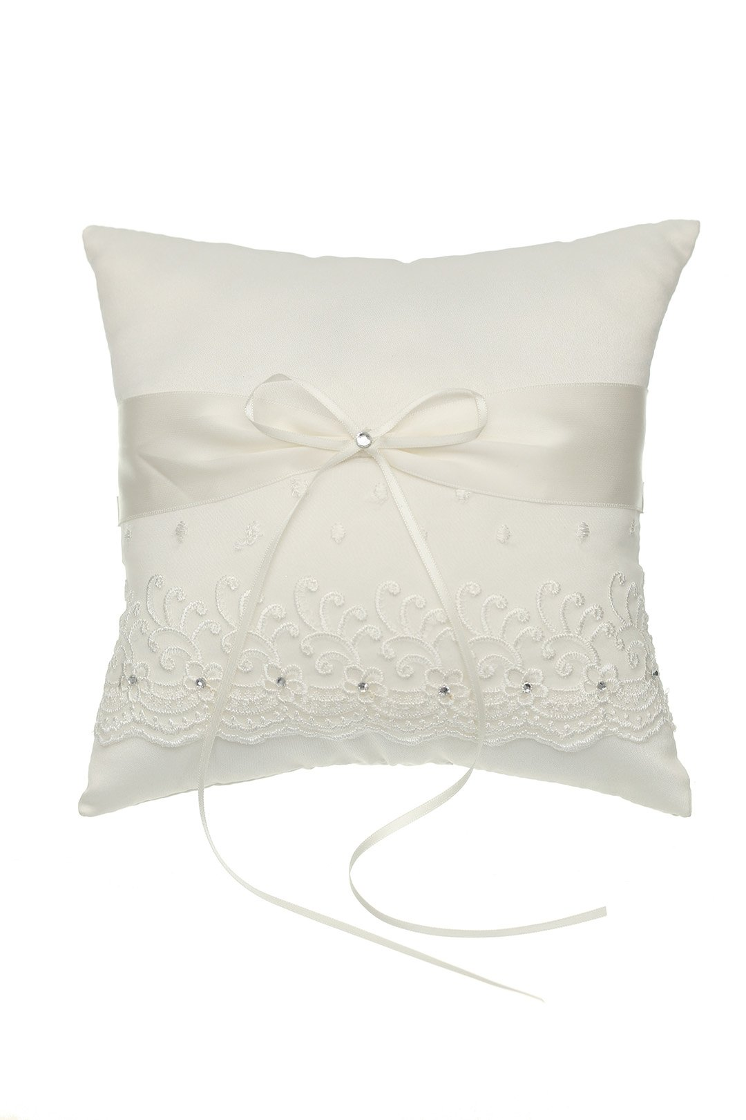SAMKY Venus Jewelry Embroided Flower Lace Crystal Wedding Ring Bearer Pillow 7 Inch x 7 Inch - Ivory RP008I