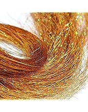 Przedłużanie włosów 200 pasm holograficzna lśniąca pęseta do włosów brokatowe przedłużki olśniewające 11 cm długości na imprezy (złoty)