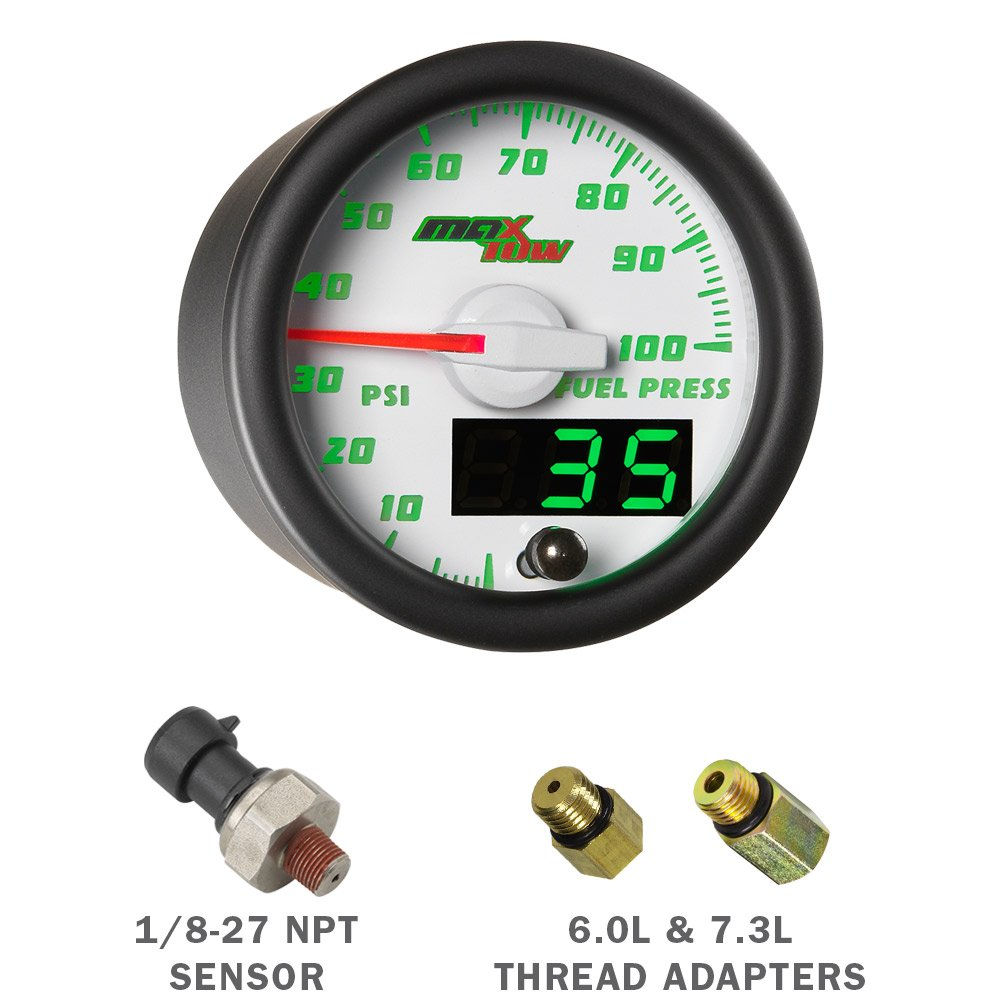 Amazon.com: White/Green MaxTow 1999-2007 Gray Ford Super Duty Power Stroke Quad Diesel Gauge Package Double Vision Boost, EGT, Trans Temp, Fuel Pressure ...