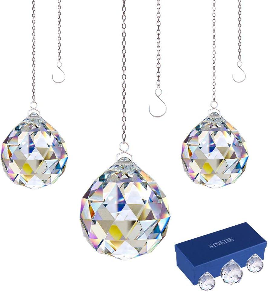 40MM 3 Pack 30MM SINEHE Clear Crystal Prism Ball Rainbow Suncatchers Window Prisms Suncatcher with Chain