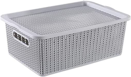 Houze Braided Storage Basket with Lid, Grey, Medium