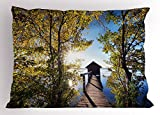 Lunarable Nature Pillow Sham, Long Wood Deck Porch and Boathouse Between Sun Spring Seasonal Trees Picture, Decorative Standard Queen Size Printed Pillowcase, 30 X 20 inches, Green and Blue