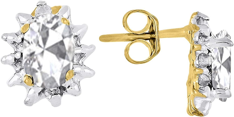 RYLOS - Pendientes de mujer con gema ovalada y diamantes brillantes auténticos en oro amarillo de 14 K - 6 x 4 mm piedra de color