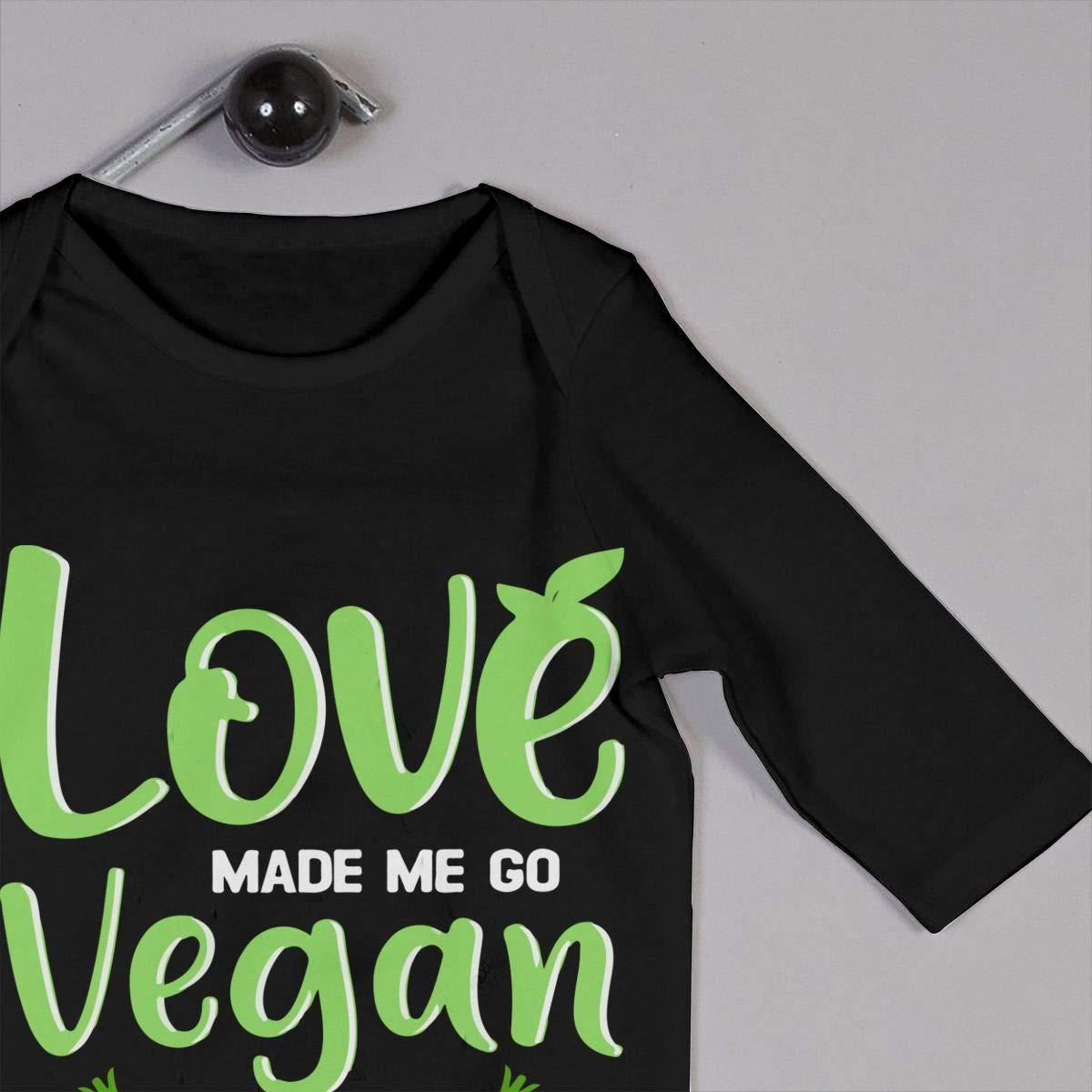Love Made Me Go Vegan1 Newborn Kids Long Sleeve Gentleman Bodysuit