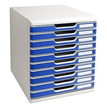 9b6bf9935b3af Exacompta Modulo Module de classement 10 tiroirs Gris Bleu  Amazon ...