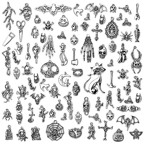 Halloween Charms-100g(About 60-65pcs) Hallowmas Style Antique Silver Craft Supplies Charms Pendants for Crafting Jewelry Findings Making Accessory for DIY Necklace Bracelet (Halloween Collection)]()