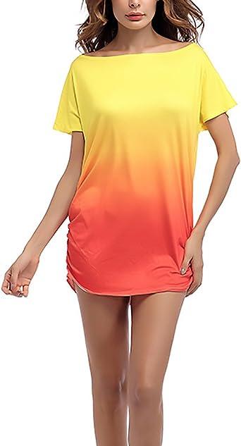 Camisetas Mujer Verano Basicas Color Degradado Manga Corta ...