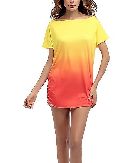 Blusas Mujer Verano Basicas Color Degradado Manga Corta Anchos Hippie Joven Moda Casual Clásico Especial T-Shirt Camiseta Camisetas Top: Amazon.es: Ropa y ...