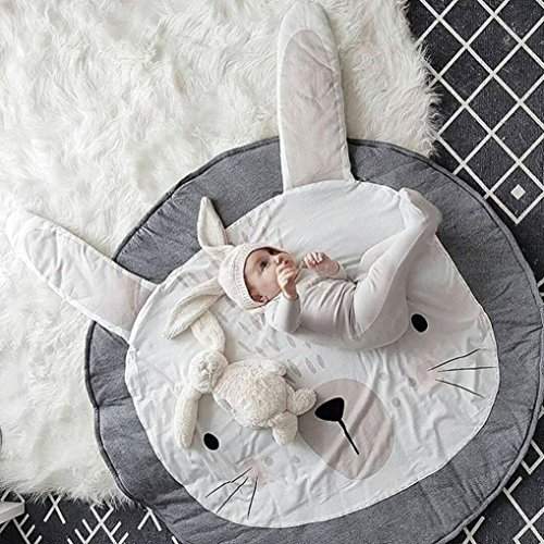 MMUA Cartoon Baby Infant Creeping Mat Playmat Blanket Play Game Mat Room Decoration Crawling Activity Mat Carpet Floor Home Rug Unisex Gift (95cm/37.4 inch - Gray) (C)