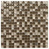 Brown with Dark Emperador Square Glass Mosaic Tile for Bathroom and Kitchen Walls Kitchen Backsplashes By Vogue Tile