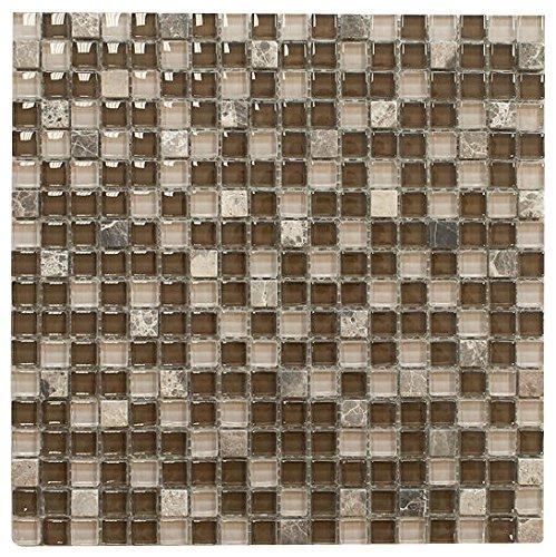 Brown with Dark Emperador Square Glass Mosaic Tile for Bathroom and Kitchen Walls Kitchen Backsplashes By Vogue Tile by Vogue Tile
