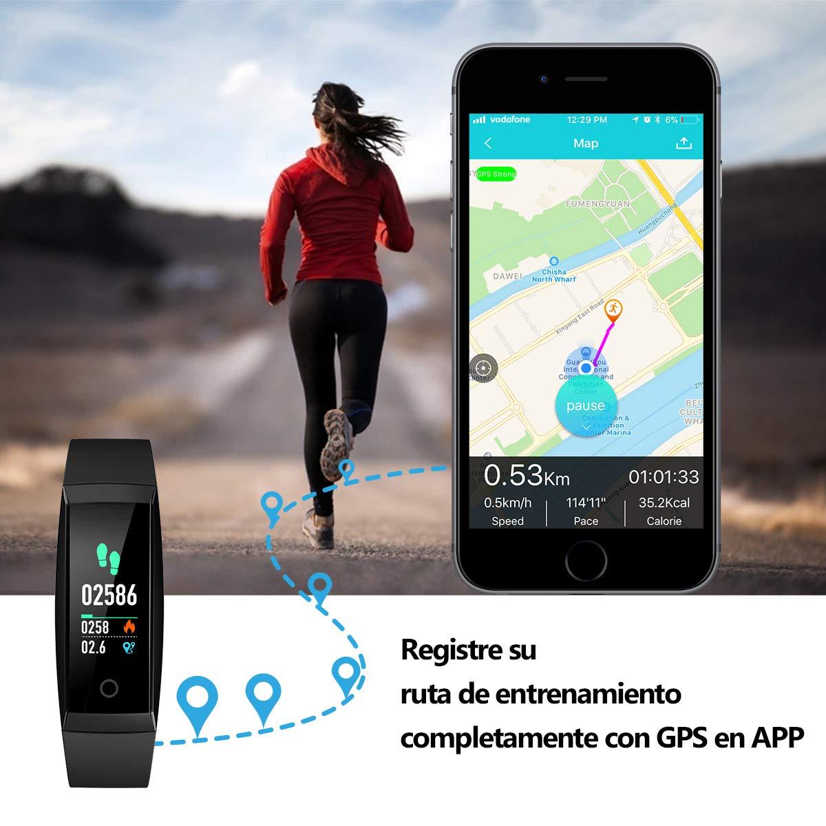 Pulsera de Actividad Inteligente Pantalla a Color Impermeable IP67 Pulsómetro con Monitor de Ritmo Cardíaco Monitor de Actividad Podómetro Monitor de ...
